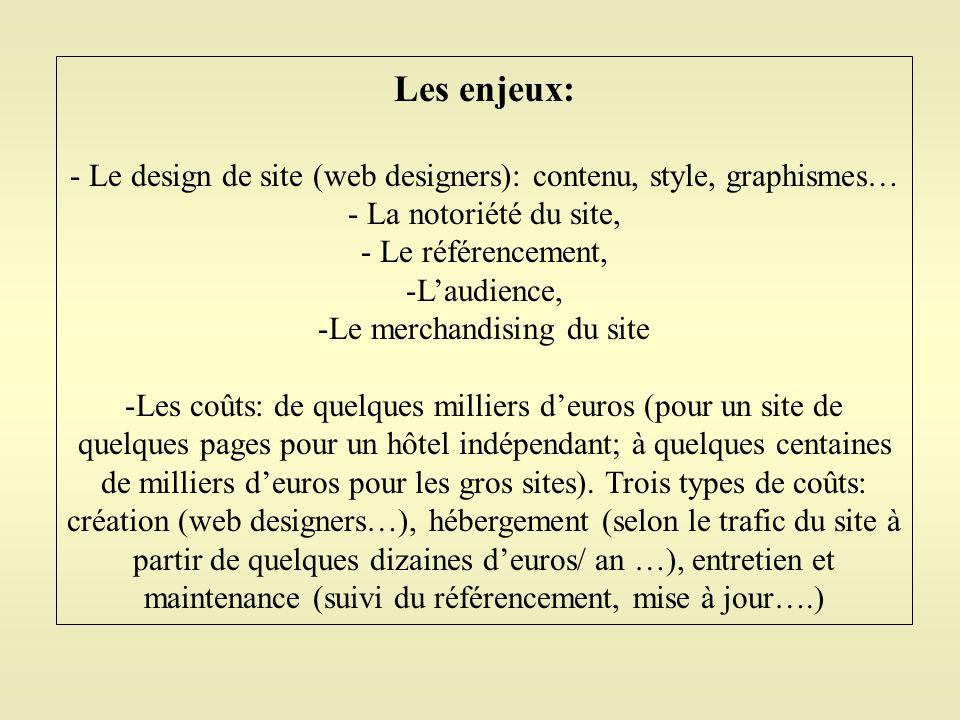 Les enjeux: Le design de site (web designers): contenu, style, graphismes… La notoriété du site, Le référencement,