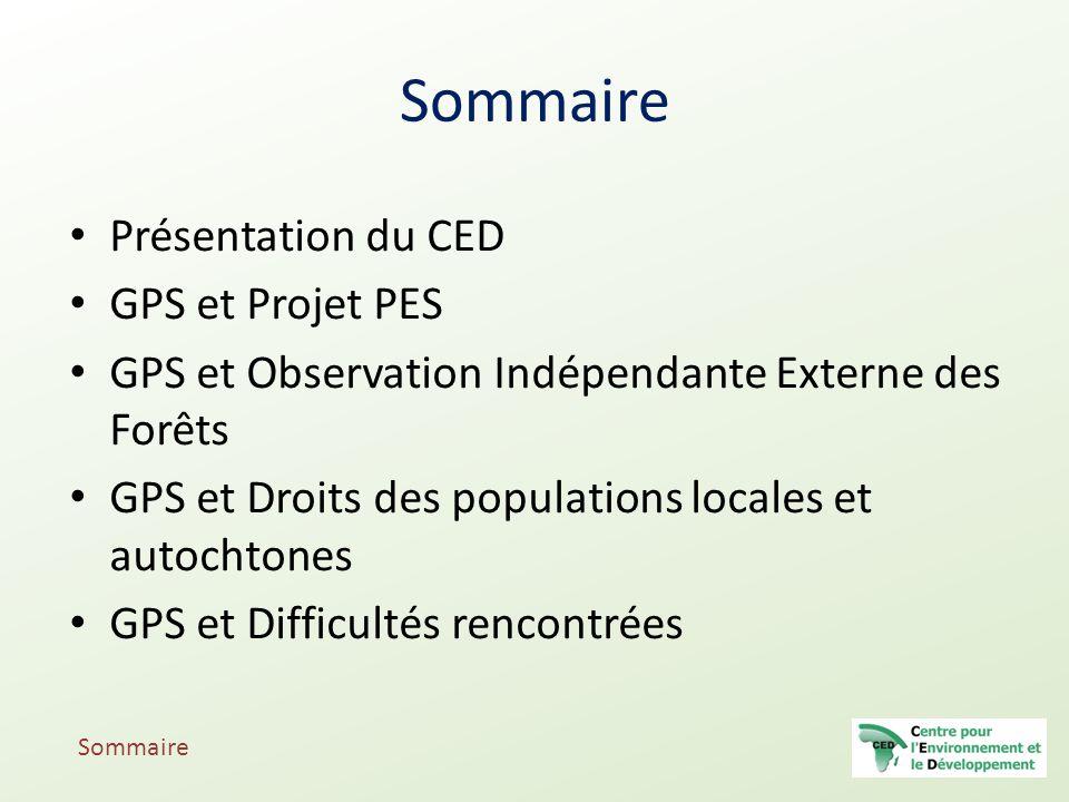 Sommaire Présentation du CED GPS et Projet PES