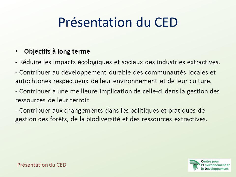 Présentation du CED Objectifs à long terme
