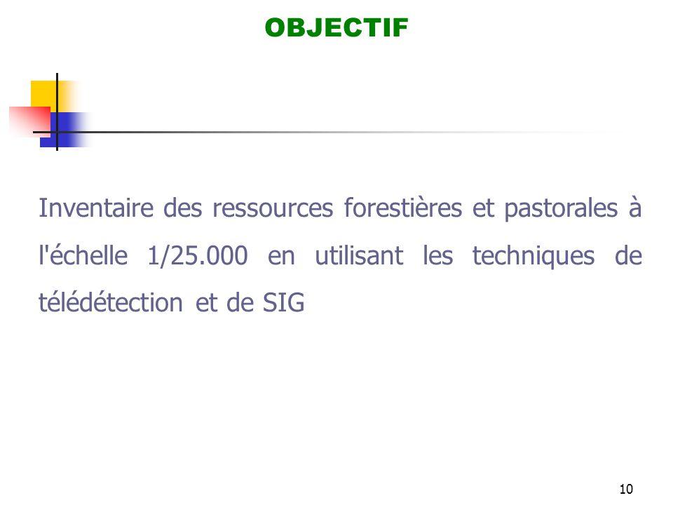 OBJECTIF Inventaire des ressources forestières et pastorales à l échelle 1/25.000 en utilisant les techniques de télédétection et de SIG.