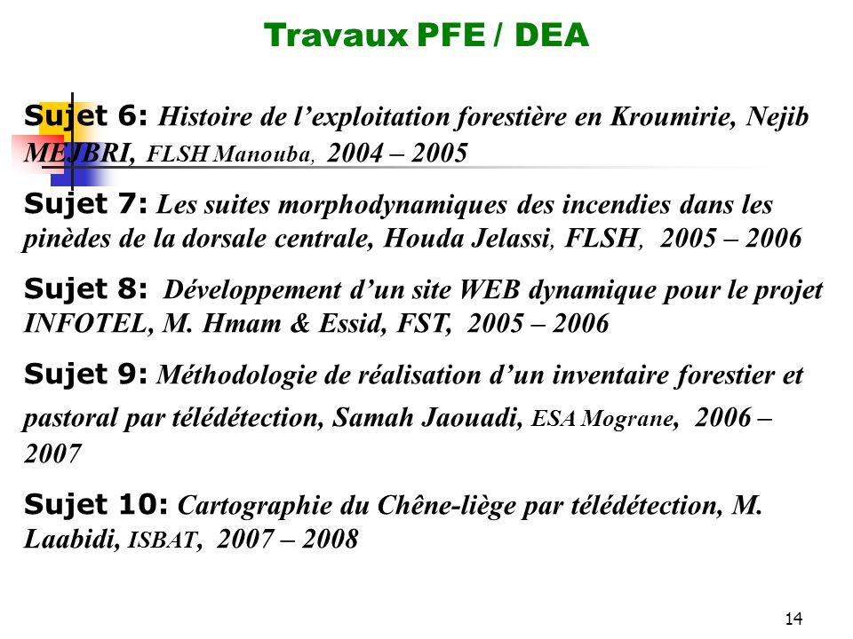 Travaux PFE / DEA Sujet 6: Histoire de l'exploitation forestière en Kroumirie, Nejib MEJBRI, FLSH Manouba, 2004 – 2005.