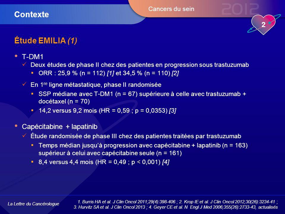 Contexte Étude EMILIA (1) T-DM1 Capécitabine + lapatinib
