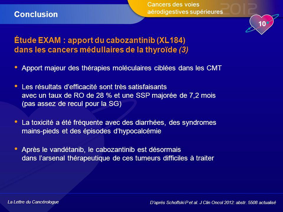 Conclusion Étude EXAM : apport du cabozantinib (XL184) dans les cancers médullaires de la thyroïde (3)
