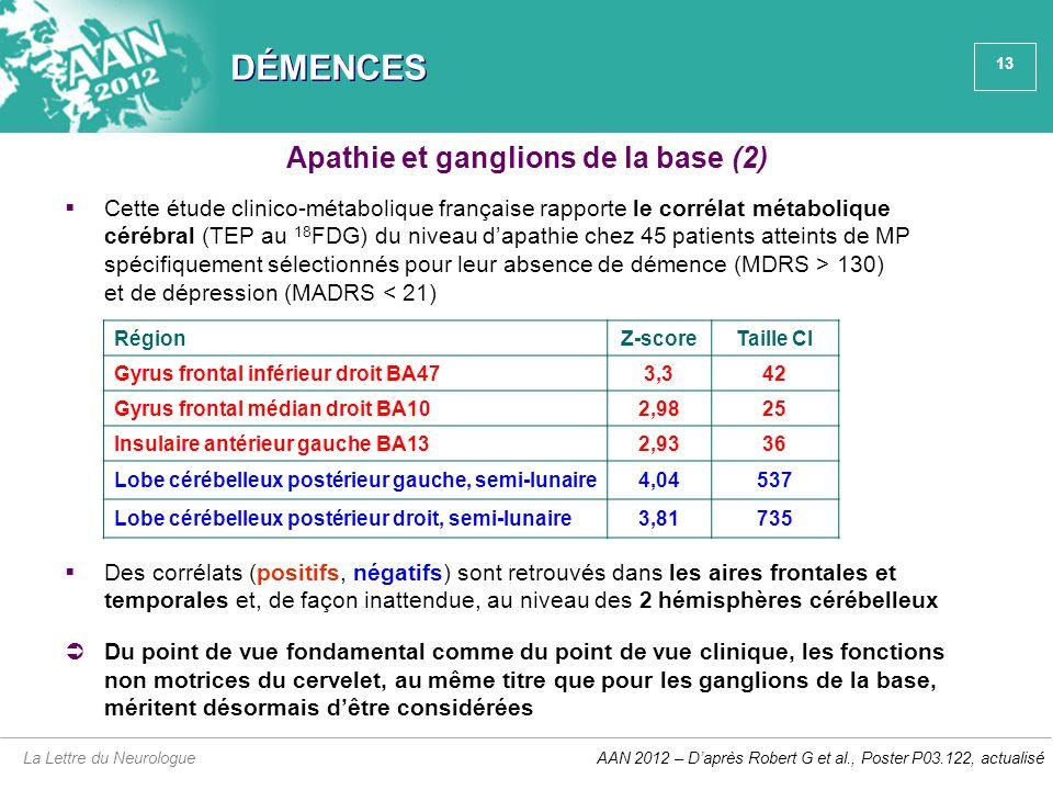 Apathie et ganglions de la base (2)