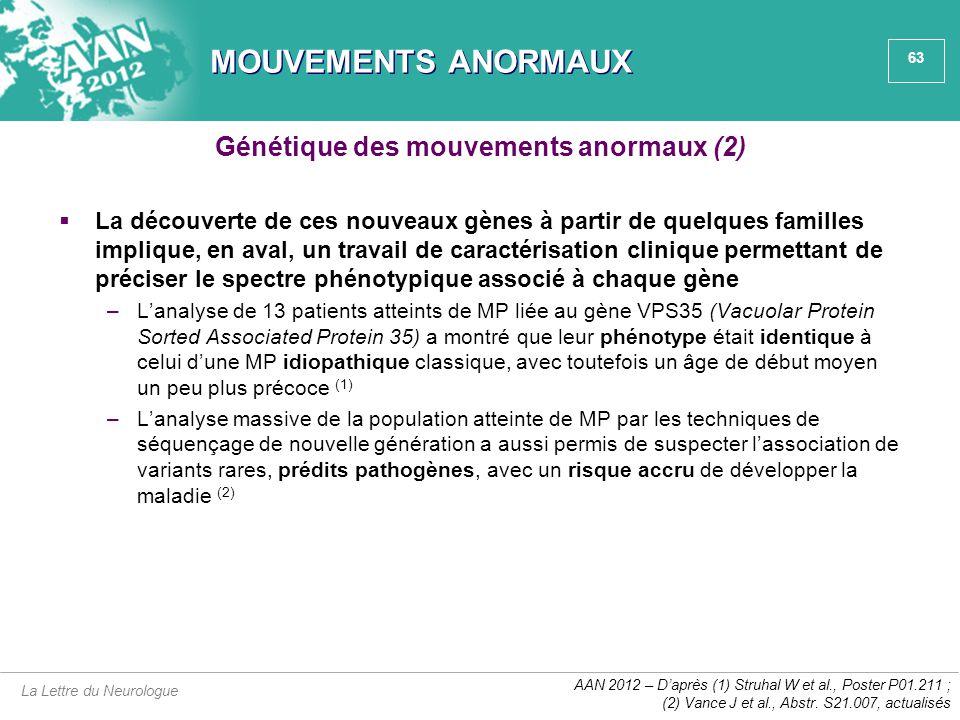 Génétique des mouvements anormaux (2)