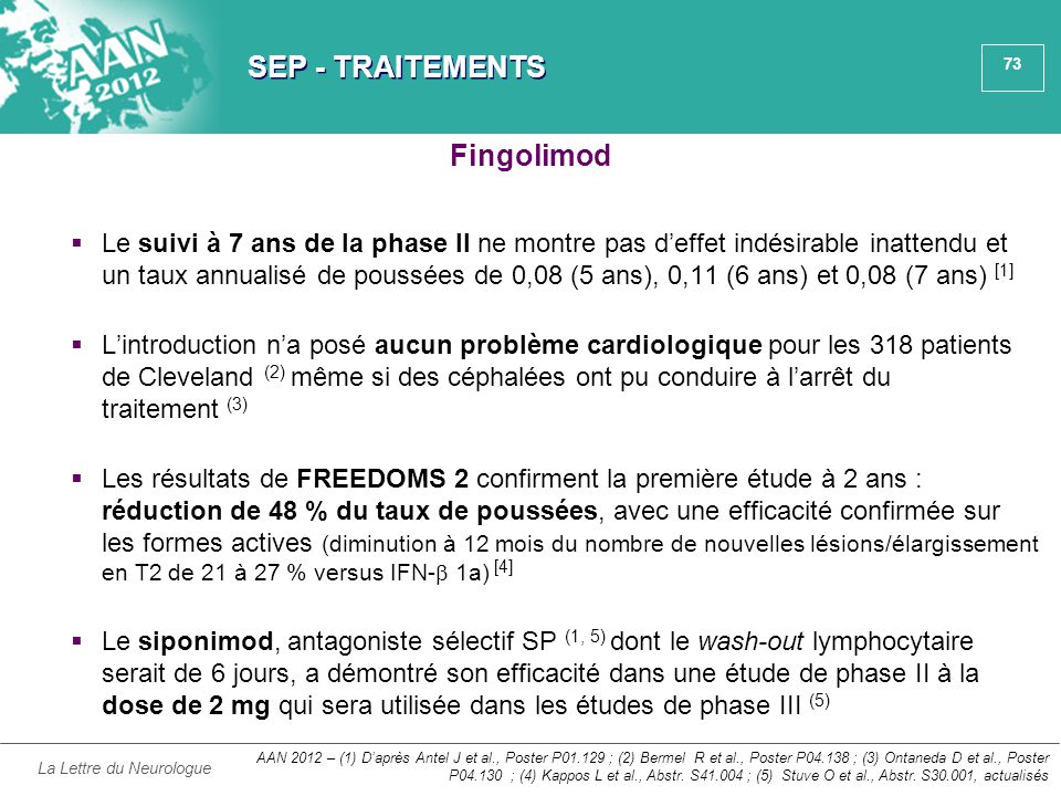 SEP - TRAITEMENTS Fingolimod
