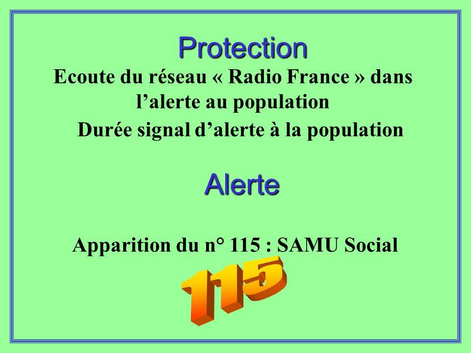 Protection Ecoute du réseau « Radio France » dans l'alerte au population. Durée signal d'alerte à la population.
