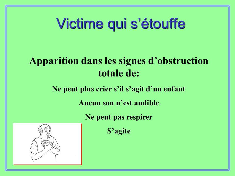 Victime qui s'étouffe Apparition dans les signes d'obstruction totale de: Ne peut plus crier s'il s'agit d'un enfant.