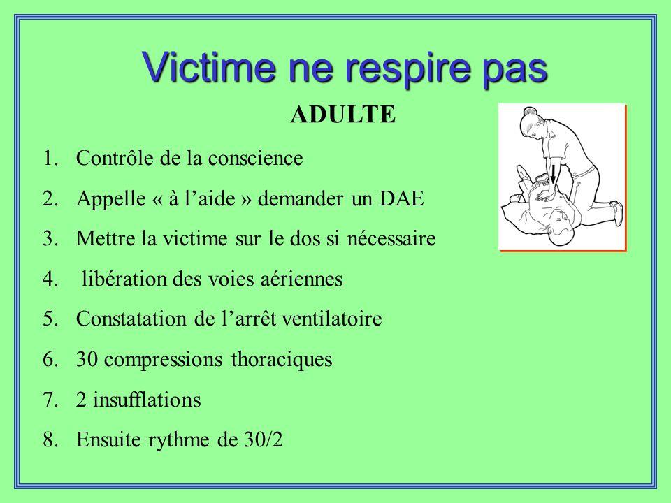 Victime ne respire pas ADULTE Contrôle de la conscience