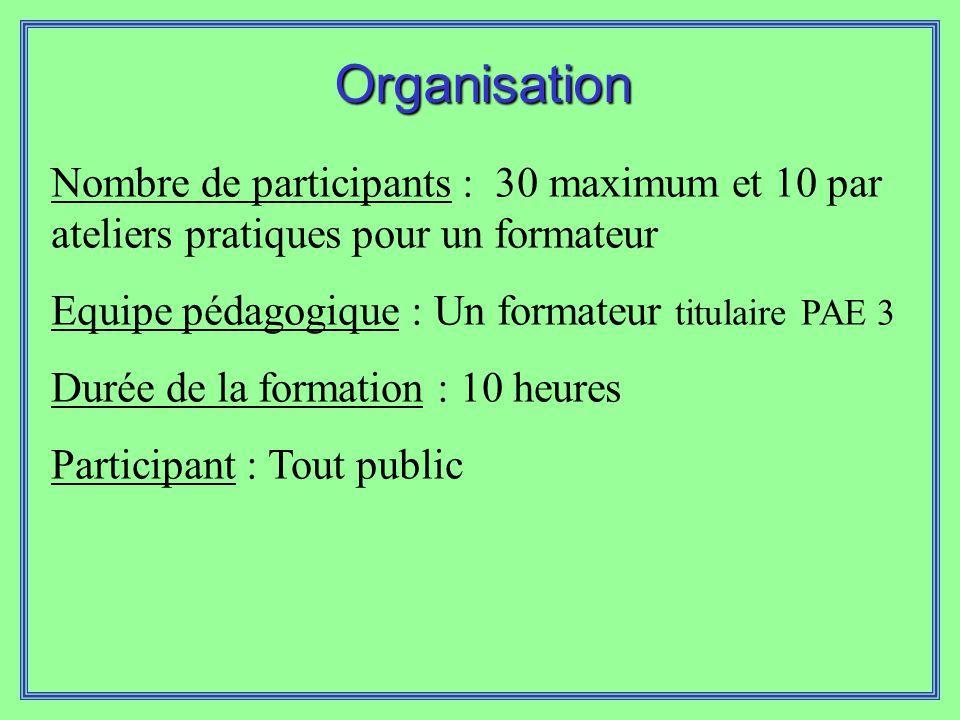 Organisation Nombre de participants : 30 maximum et 10 par ateliers pratiques pour un formateur. Equipe pédagogique : Un formateur titulaire PAE 3.