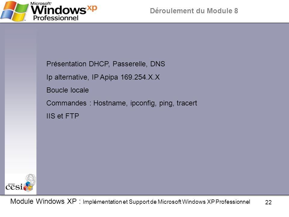 Présentation DHCP, Passerelle, DNS