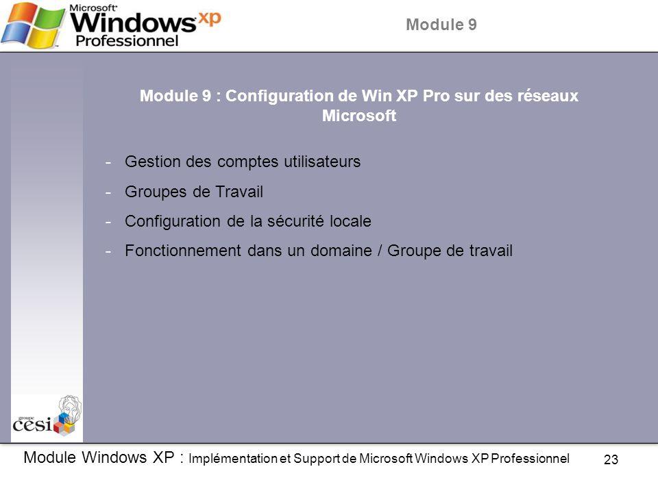 Module 9 : Configuration de Win XP Pro sur des réseaux Microsoft