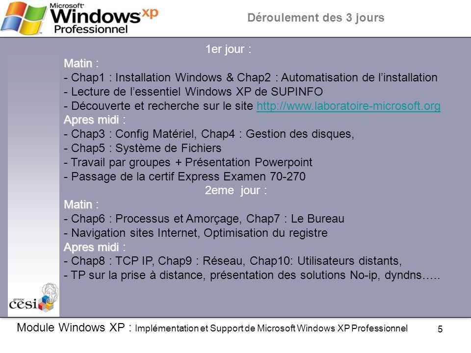 Déroulement des 3 jours 1er jour : Matin : - Chap1 : Installation Windows & Chap2 : Automatisation de l'installation.