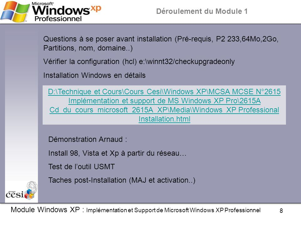 Vérifier la configuration (hcl) e:\winnt32/checkupgradeonly
