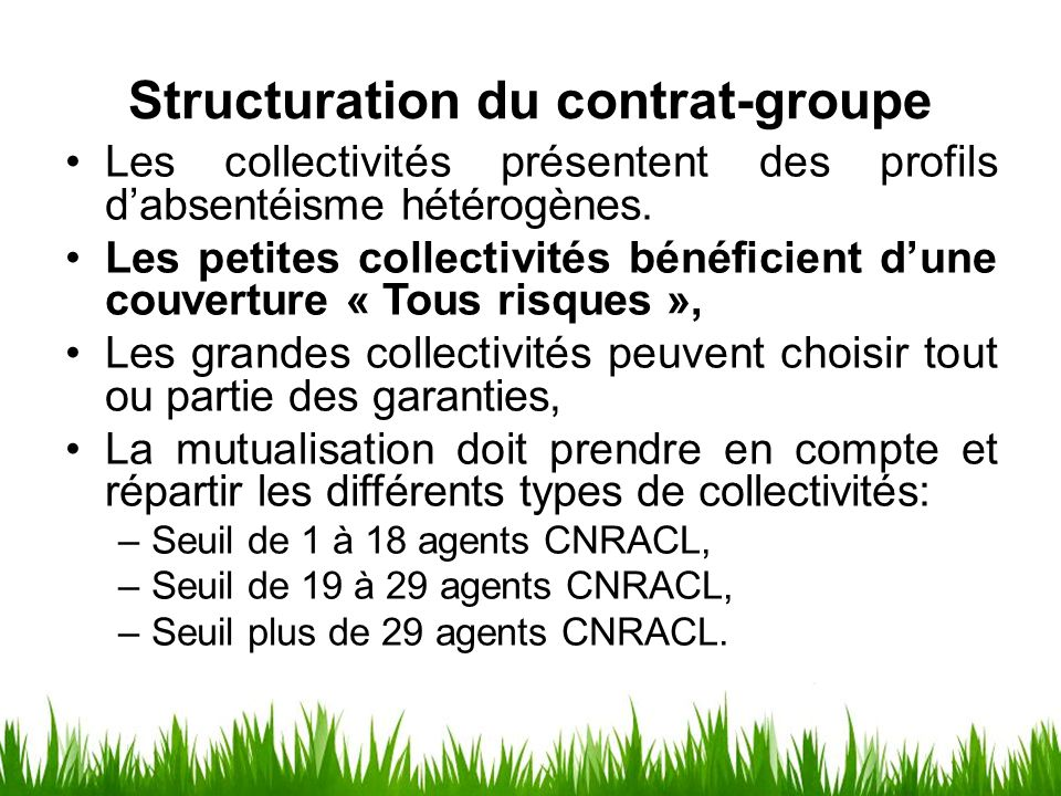 Structuration du contrat-groupe