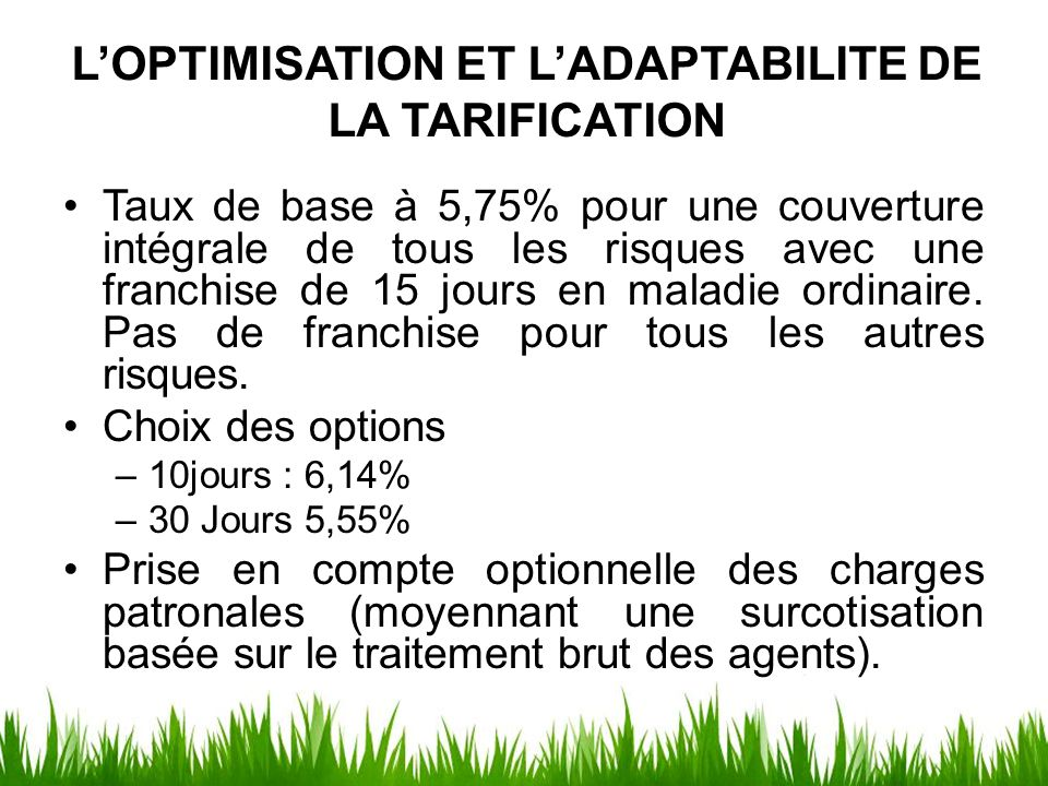 L'OPTIMISATION ET L'ADAPTABILITE DE LA TARIFICATION