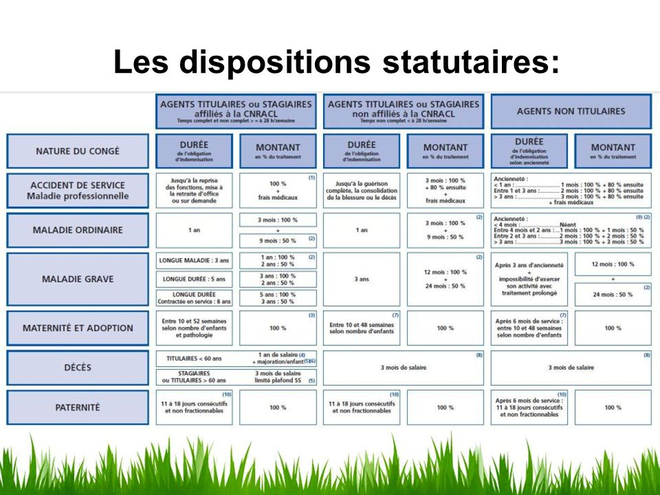 Les dispositions statutaires: