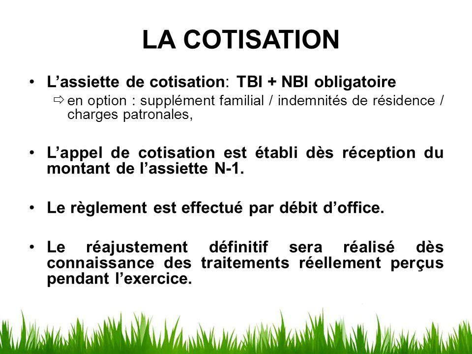 LA COTISATION L'assiette de cotisation: TBI + NBI obligatoire