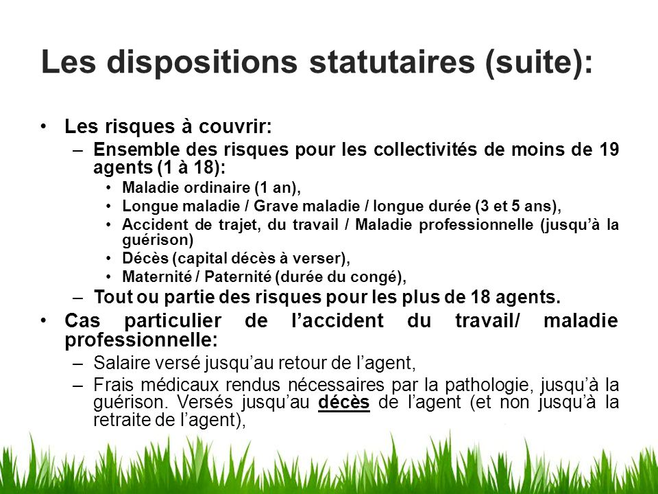 Les dispositions statutaires (suite):