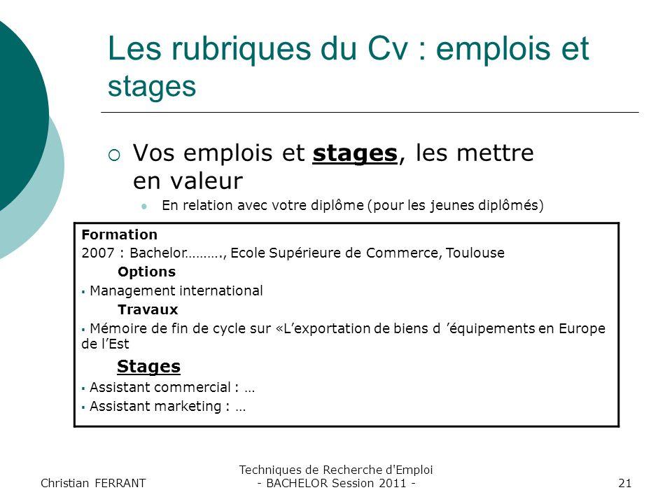 Les rubriques du Cv : emplois et stages