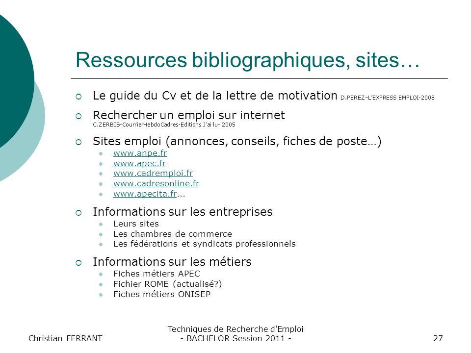 Ressources bibliographiques, sites…
