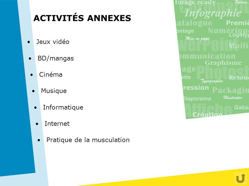 ACTIVITÉS ANNEXES Jeux vidéo BD/mangas Cinéma Musique Informatique