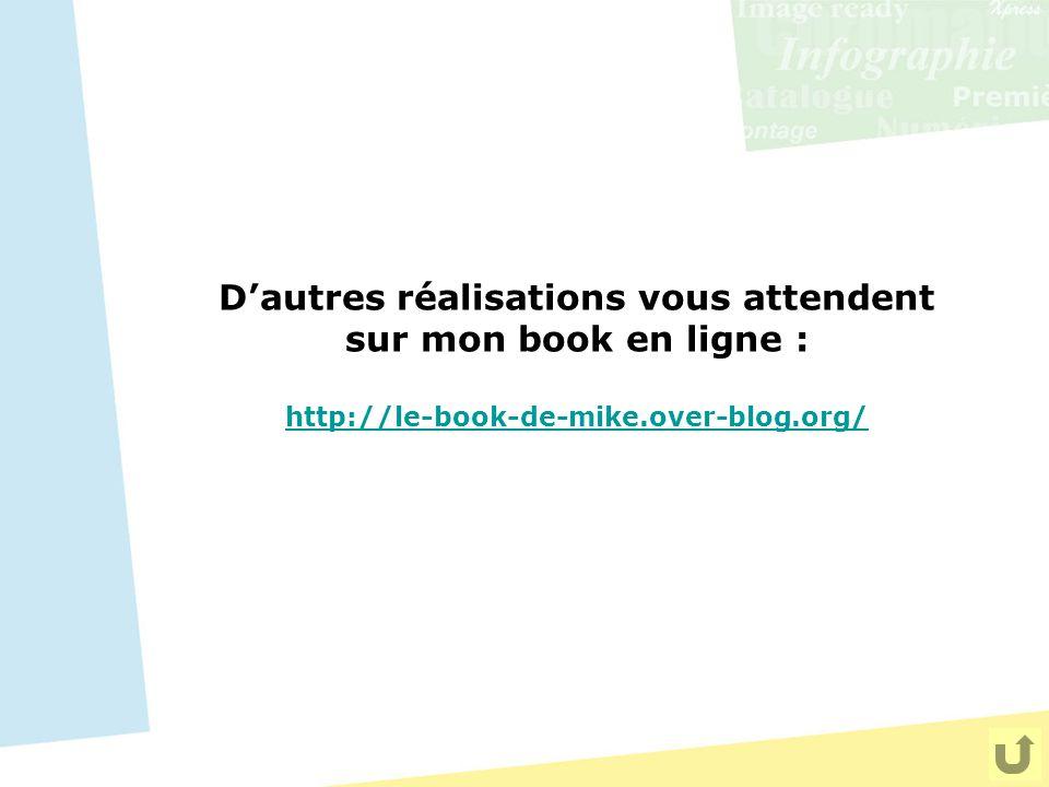 D'autres réalisations vous attendent sur mon book en ligne : http://le-book-de-mike.over-blog.org/