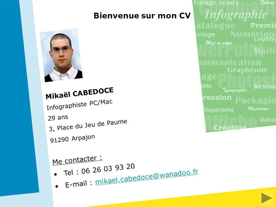 Bienvenue sur mon CV Mikaël CABEDOCE Me contacter :