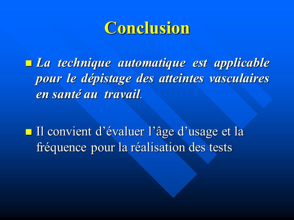 Conclusion La technique automatique est applicable pour le dépistage des atteintes vasculaires en santé au travail.