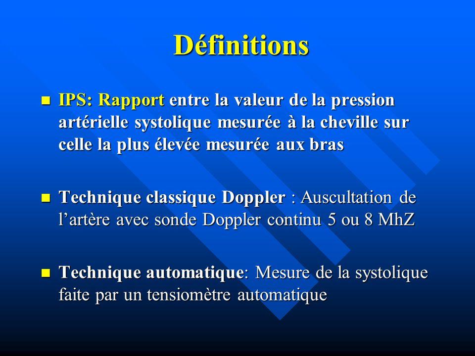 Définitions IPS: Rapport entre la valeur de la pression artérielle systolique mesurée à la cheville sur celle la plus élevée mesurée aux bras.