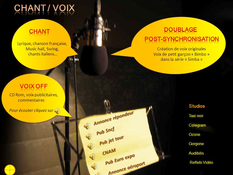 CHANT / voix Chant Doublage POST-SYNCHRONISATION Voix Off