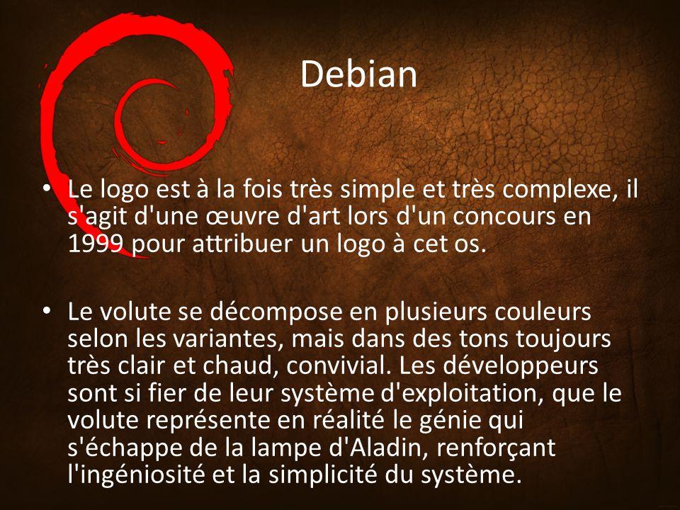 Debian Le logo est à la fois très simple et très complexe, il s agit d une œuvre d art lors d un concours en 1999 pour attribuer un logo à cet os.