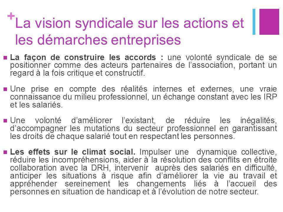 La vision syndicale sur les actions et les démarches entreprises