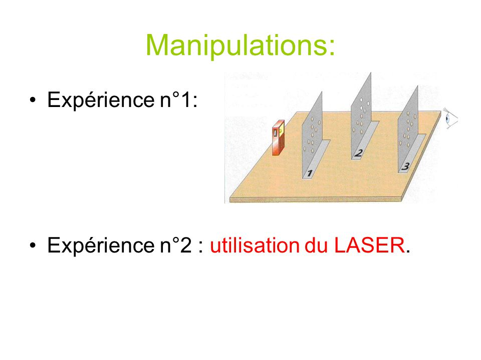Manipulations: Expérience n°1: Expérience n°2 : utilisation du LASER.
