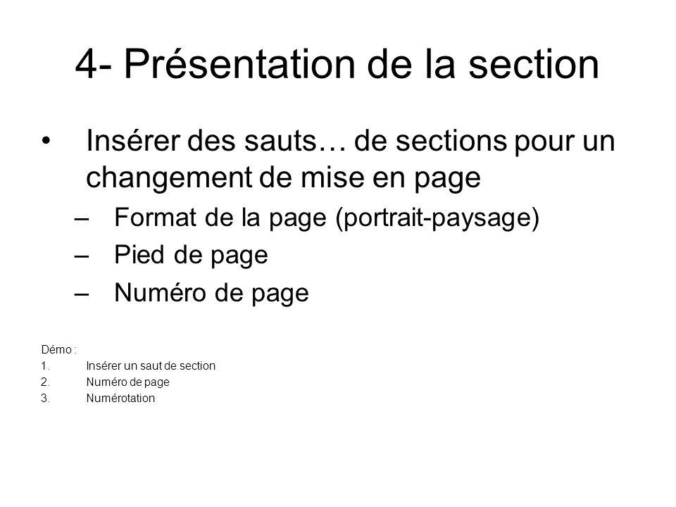 4- Présentation de la section
