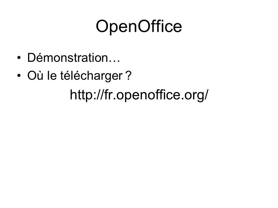 OpenOffice http://fr.openoffice.org/ Démonstration…