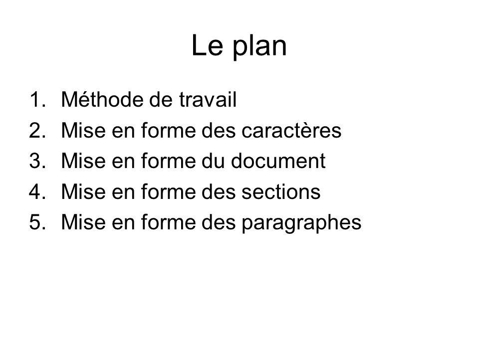 Le plan Méthode de travail Mise en forme des caractères
