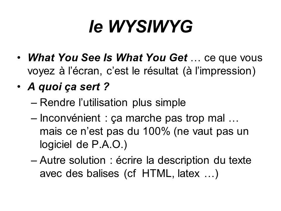 le WYSIWYG What You See Is What You Get … ce que vous voyez à l'écran, c'est le résultat (à l'impression)