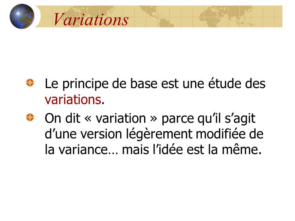 Variations Le principe de base est une étude des variations.
