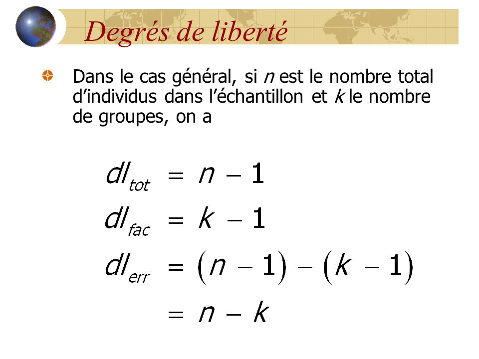 Degrés de liberté Dans le cas général, si n est le nombre total d'individus dans l'échantillon et k le nombre de groupes, on a.