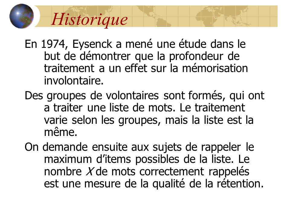 Historique En 1974, Eysenck a mené une étude dans le but de démontrer que la profondeur de traitement a un effet sur la mémorisation involontaire.