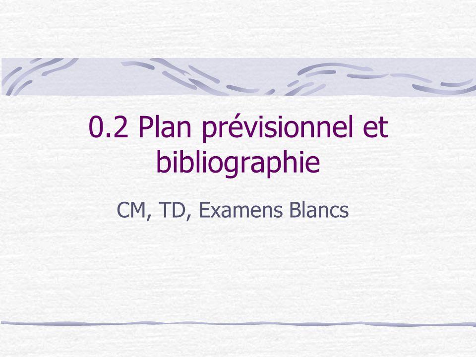 0.2 Plan prévisionnel et bibliographie