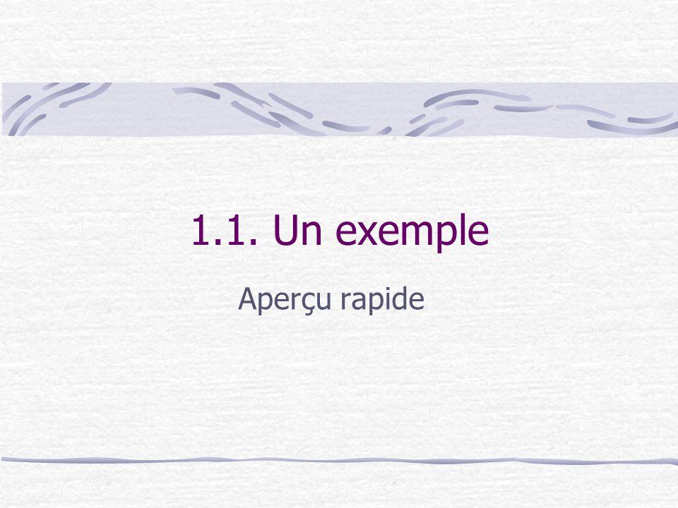 1.1. Un exemple Aperçu rapide