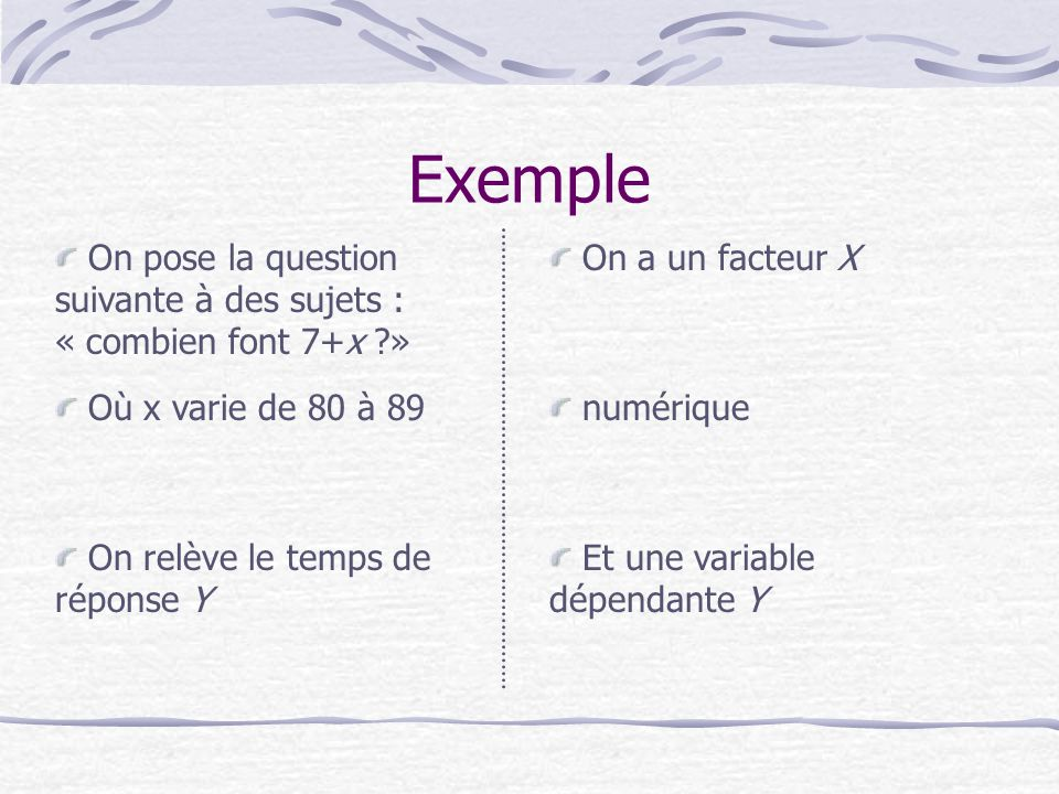 Exemple On pose la question suivante à des sujets : « combien font 7+x » On a un facteur X. Où x varie de 80 à 89.