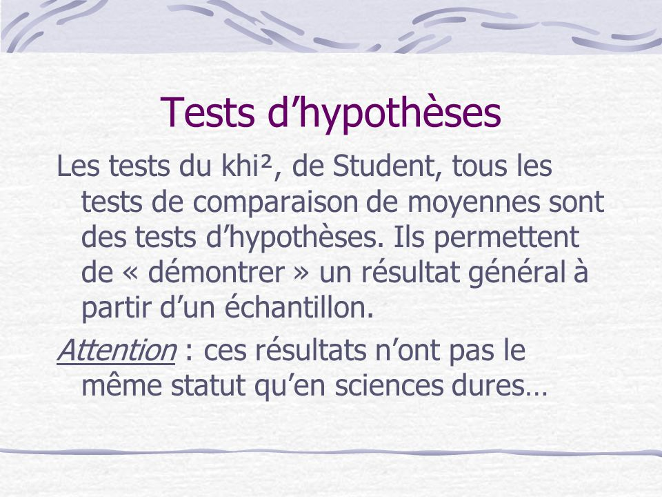 Tests d'hypothèses