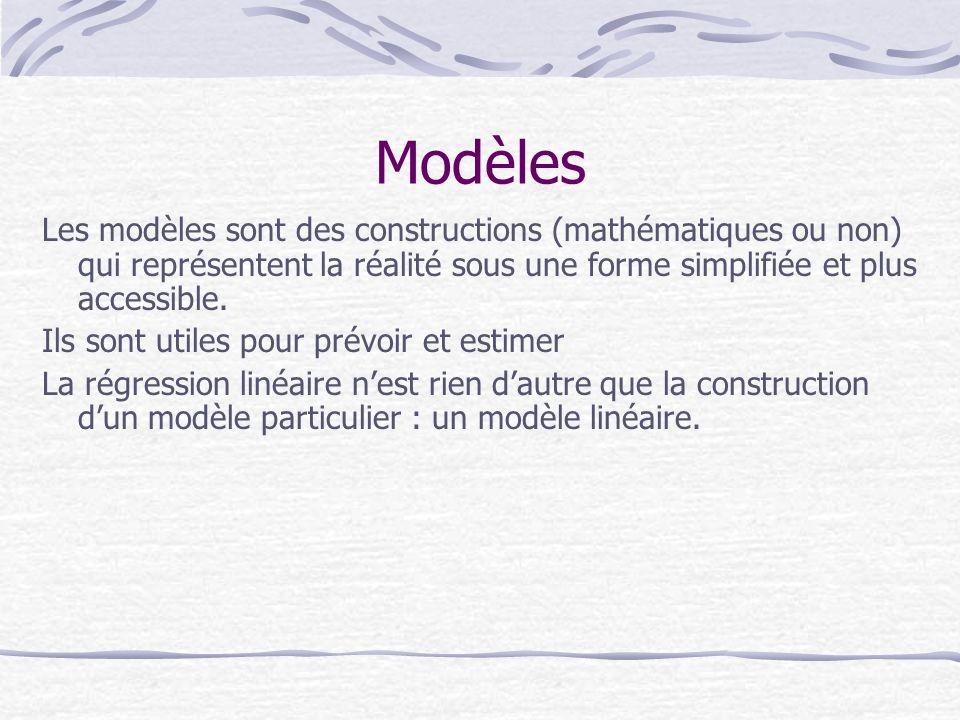 Modèles Les modèles sont des constructions (mathématiques ou non) qui représentent la réalité sous une forme simplifiée et plus accessible.