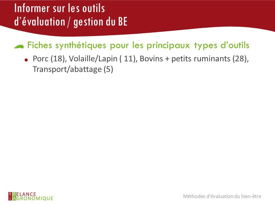 Informer sur les outils d'évaluation / gestion du BE