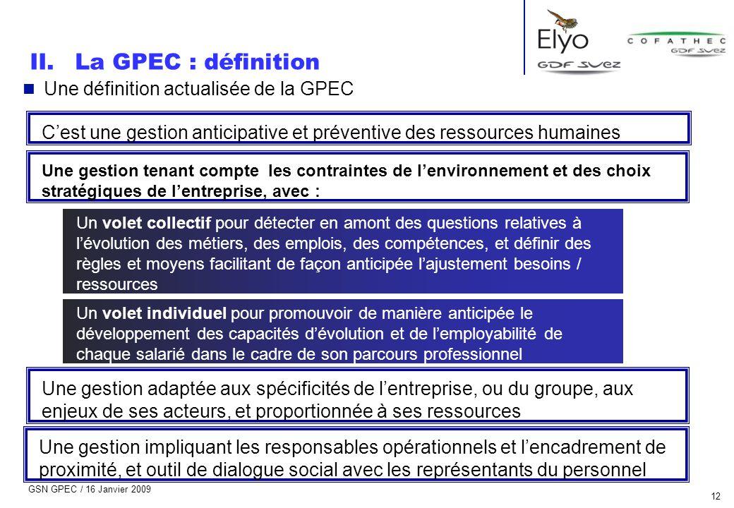 La GPEC : définition Une définition actualisée de la GPEC