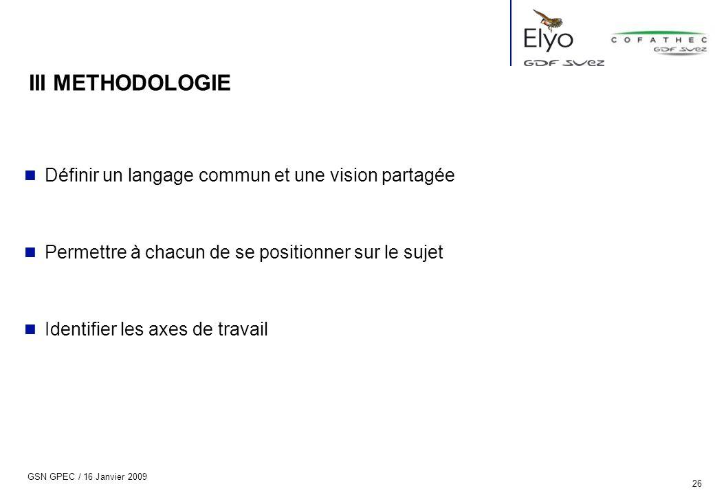 III METHODOLOGIE Définir un langage commun et une vision partagée