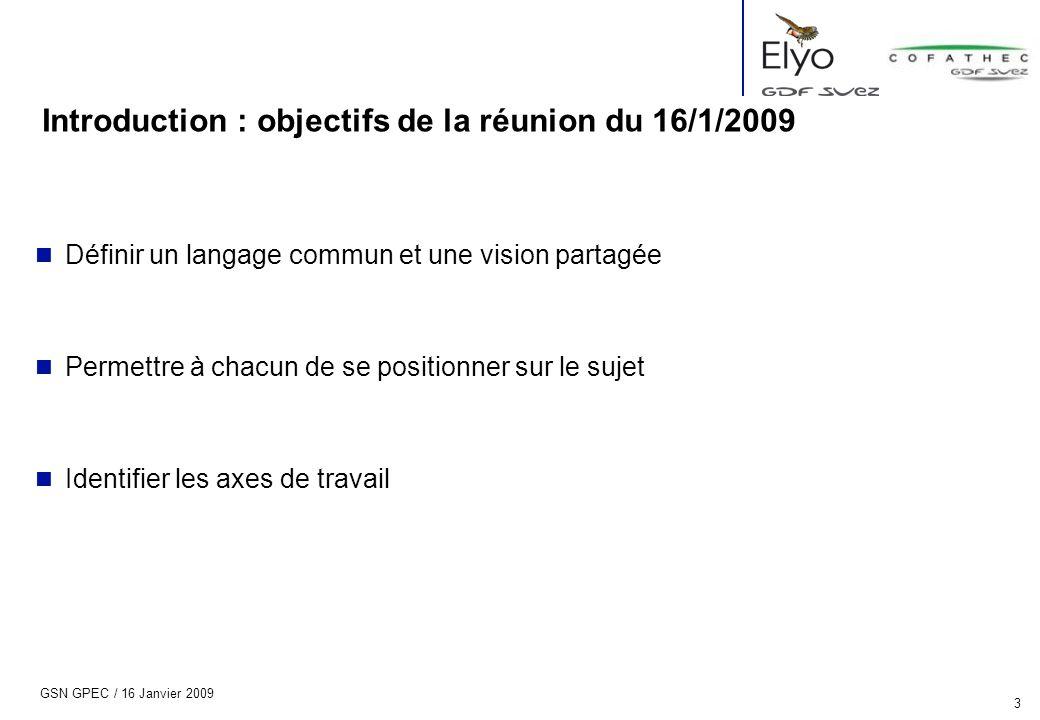 Introduction : objectifs de la réunion du 16/1/2009